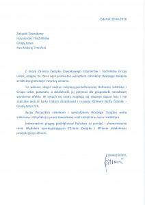 Pismo Andrzeja Woronieckiego